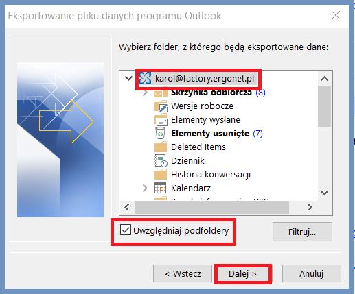 Eksportowanie pliku danych programu Outlook